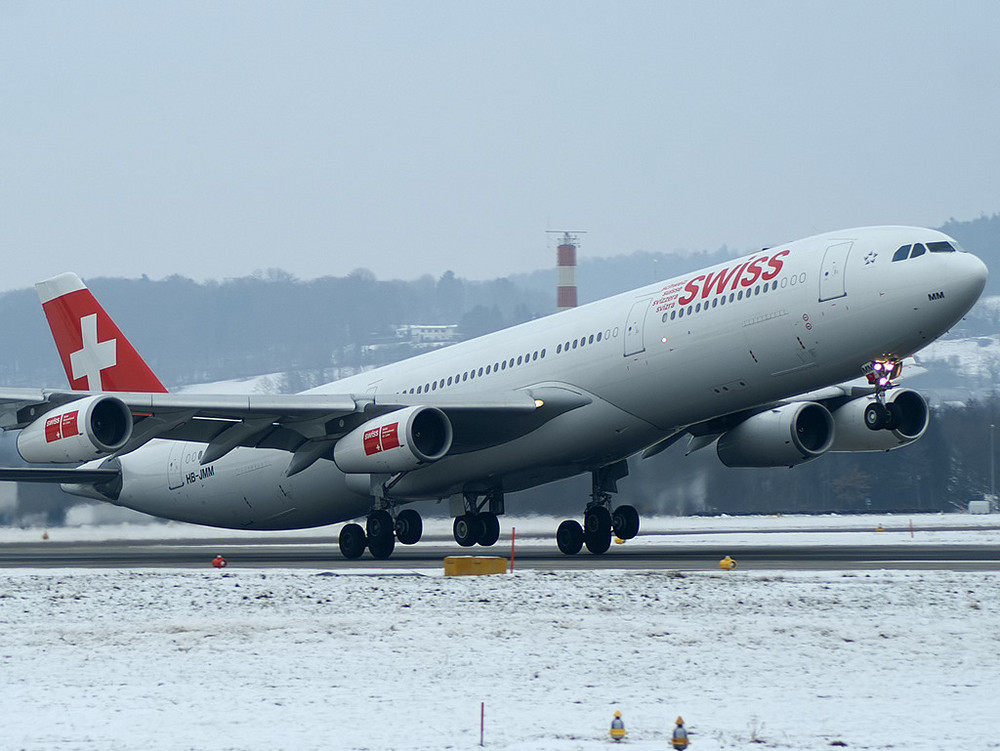 Swiss A340 Takeoff Runway 16 in ZRH