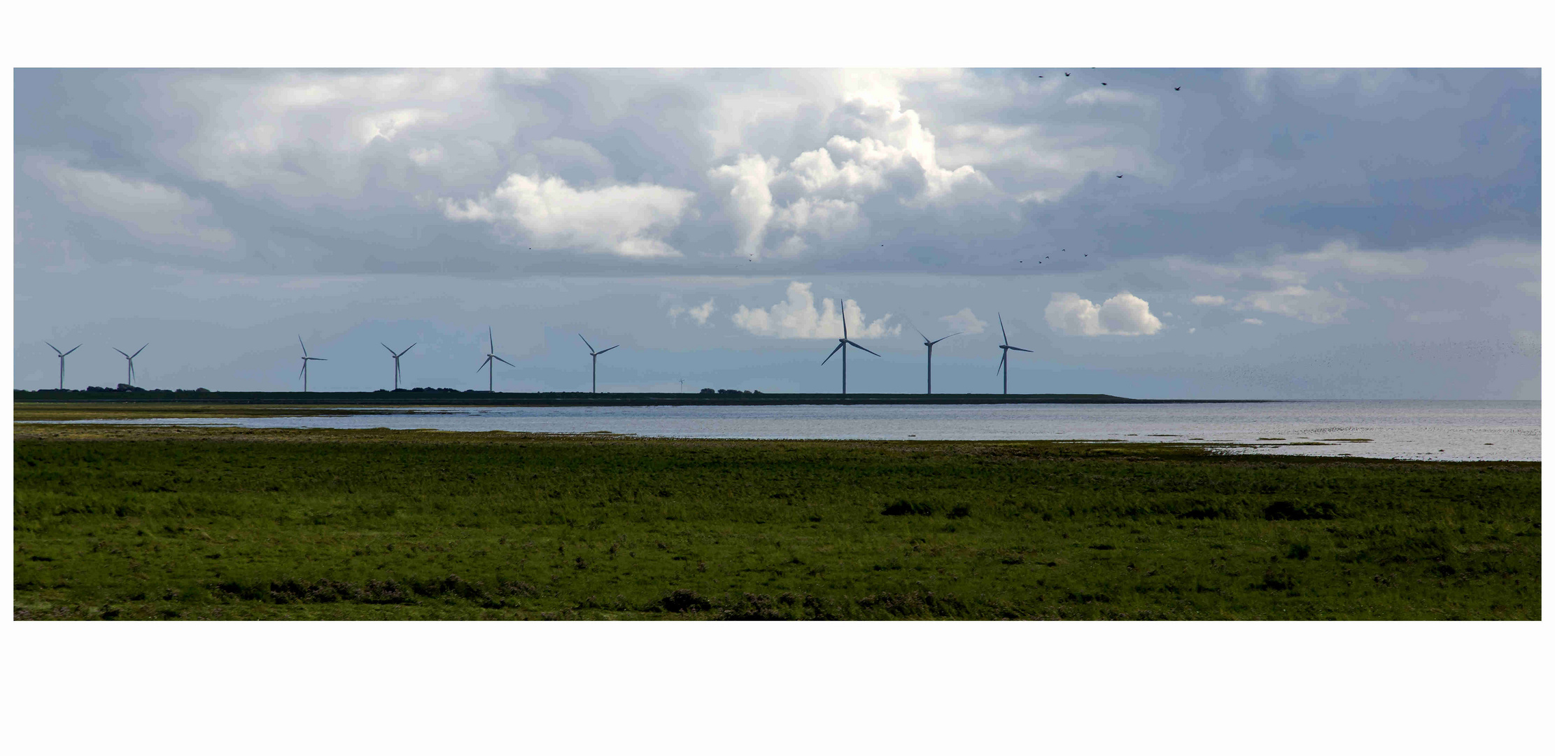 Sylt, - moderne Windmühlen am Horizont