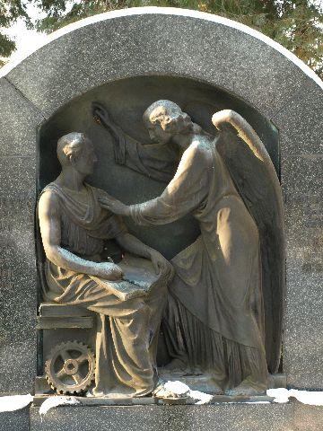 Szene auf einem Grabstein