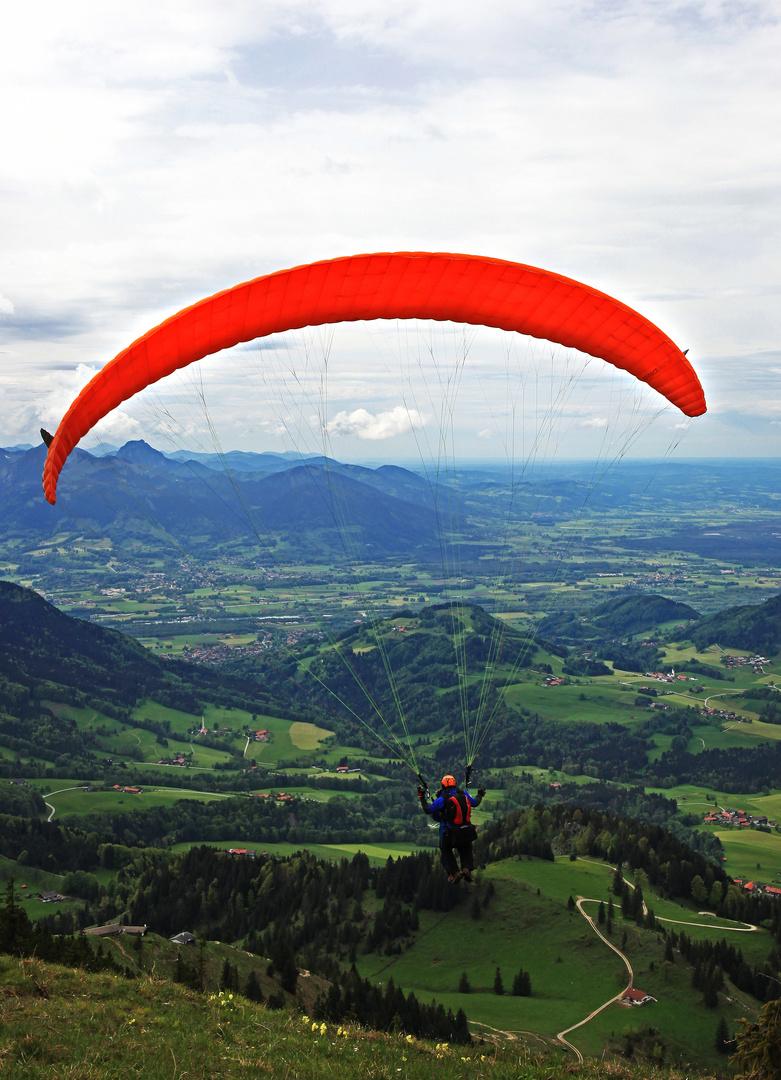 Tamdemflug mit einem Gleitschirm im Chiemgau