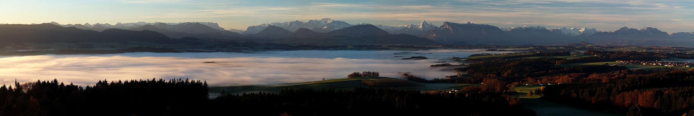 Tannbergblick heute morgen 7h 45 ins Salzburger u. Bayerische Alpenvorland