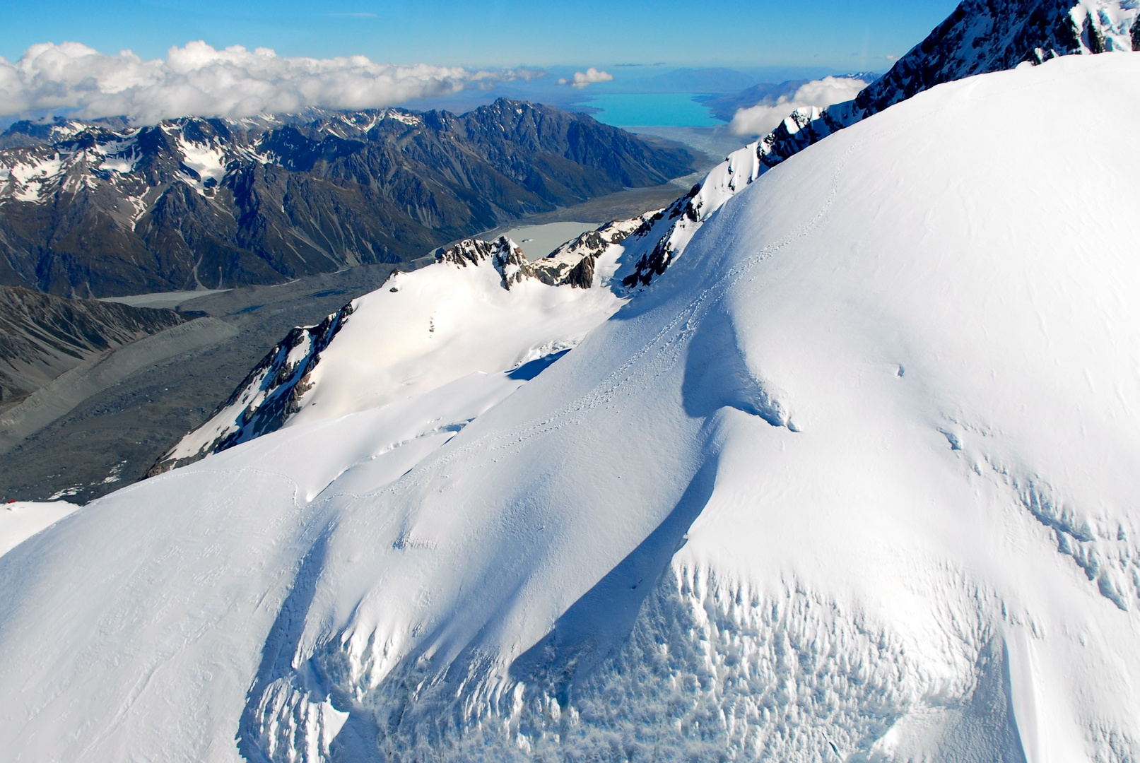 Tasman Glacier with view to the Lake Pukaki