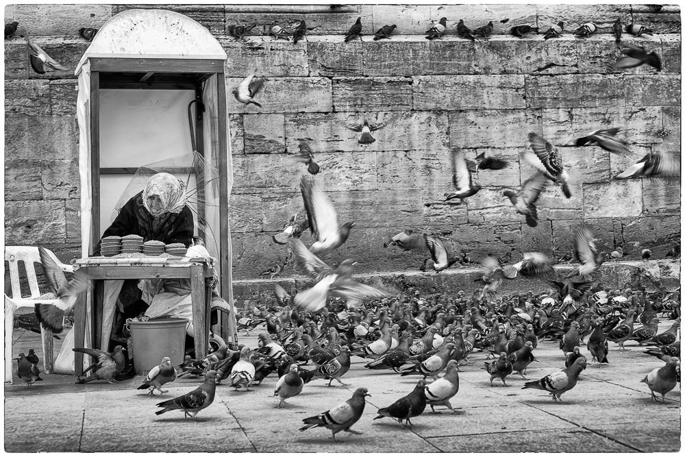 Taubenfutterverkäuferin ...