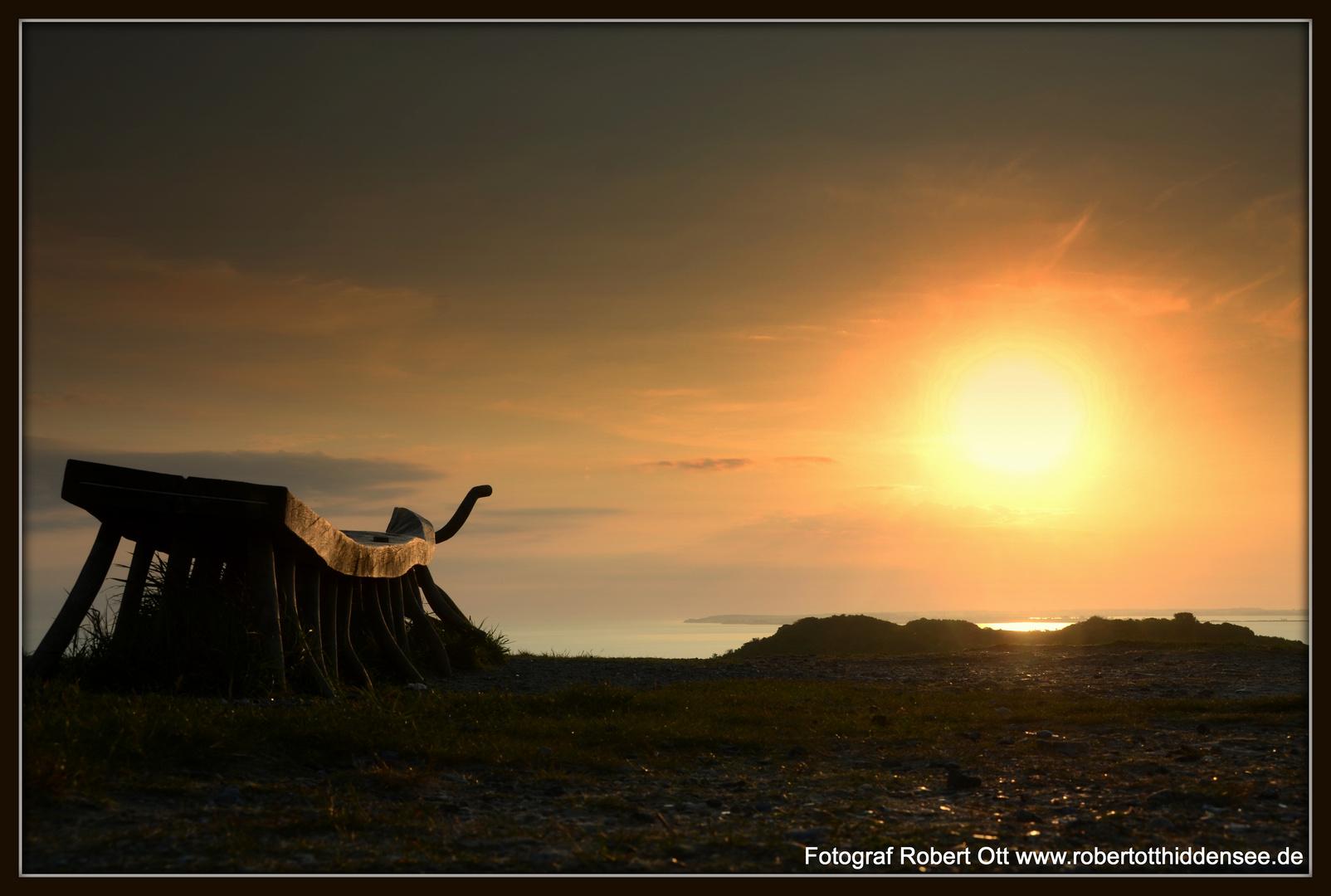 Tausendfüßlerbank in der aufgehenden Sonne!