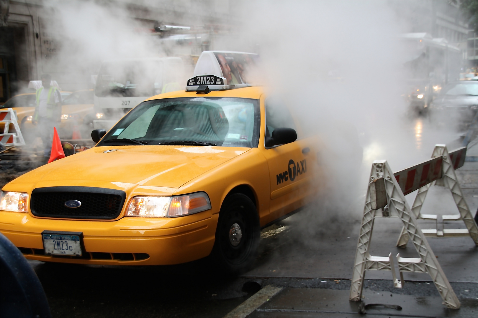 Taxi im Dunst