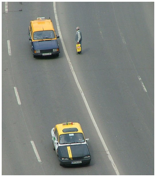 Taxis are passing by