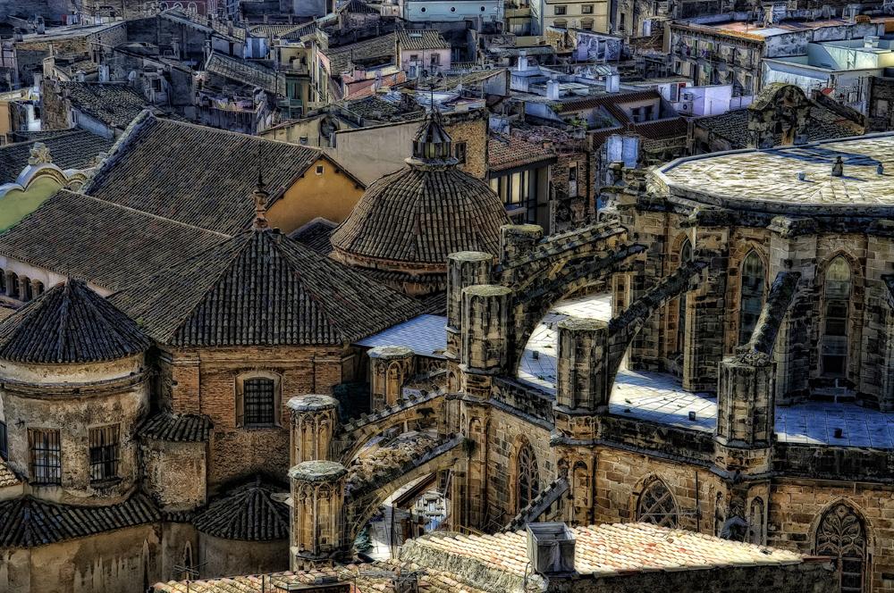 Tejados ( Tortosa) desde el Parador Nacional en el Castillo de Uda