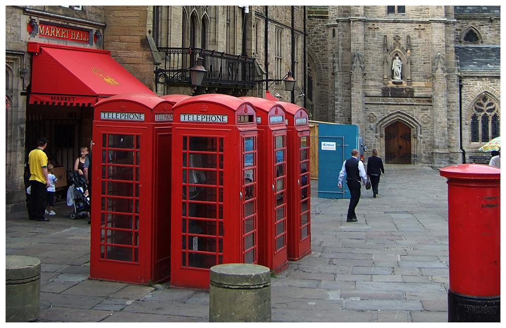 Telefonzellen, Burg und Kathedrale von Durham