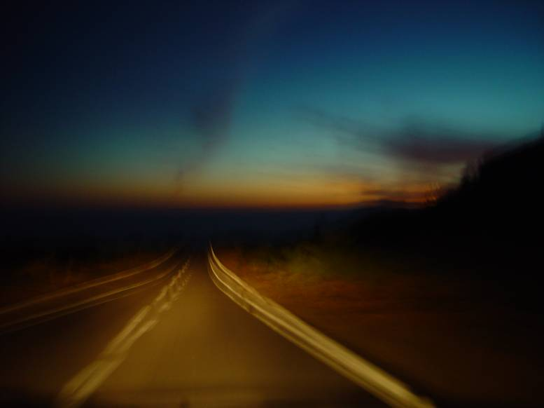 Teneriffa driving at sunset