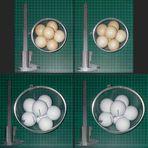 Tetraeder-Packungen in Halbkugel-Schale