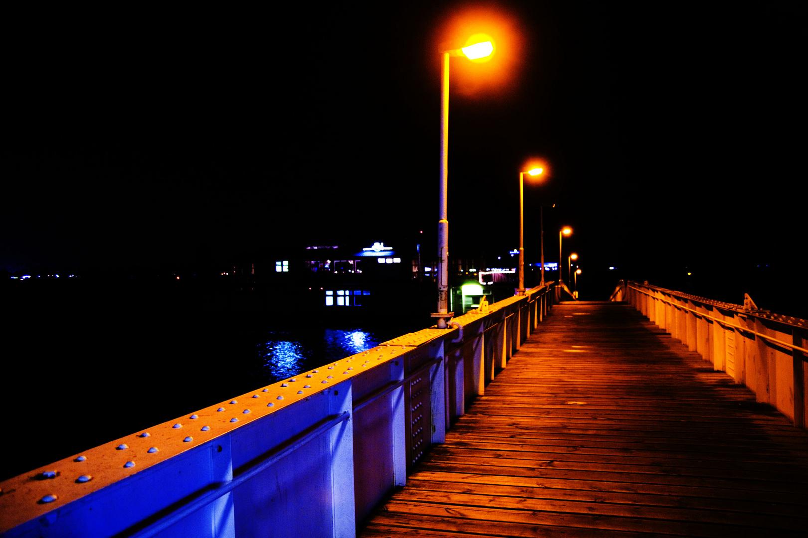 Teufelsbrück bei Nacht