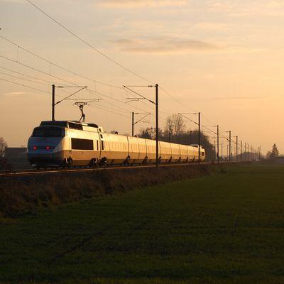 TGV Dunkerque - Paris Nord , au coucher du soleil ...