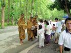 Thailändische Mönche beim Pindabat....