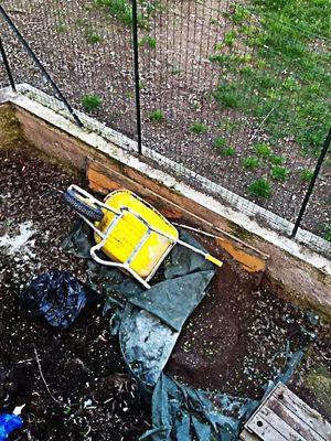 The abandoned yellow Wheelbarrow