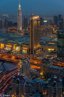 The Address Building at Night and Dubai Mall