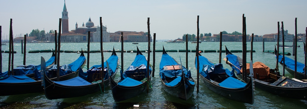 the blue boats of venice