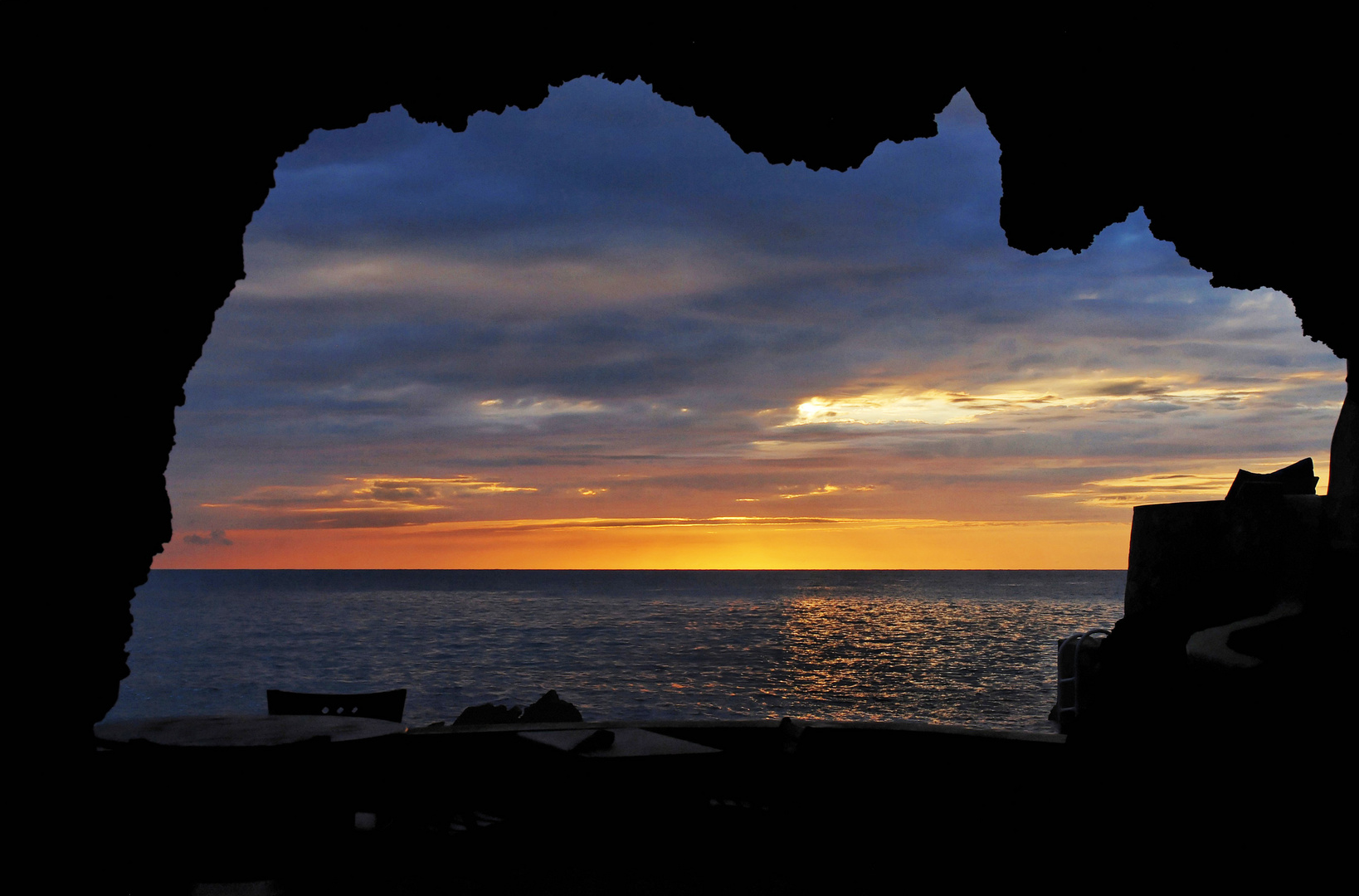 The Caves Hotel at sunset Negril