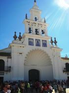 "The Church in the famous andalusian town ""Rocio"". It was a nice and sunny day."