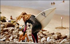 The girl surfer