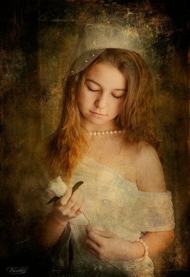 The girl with white rose