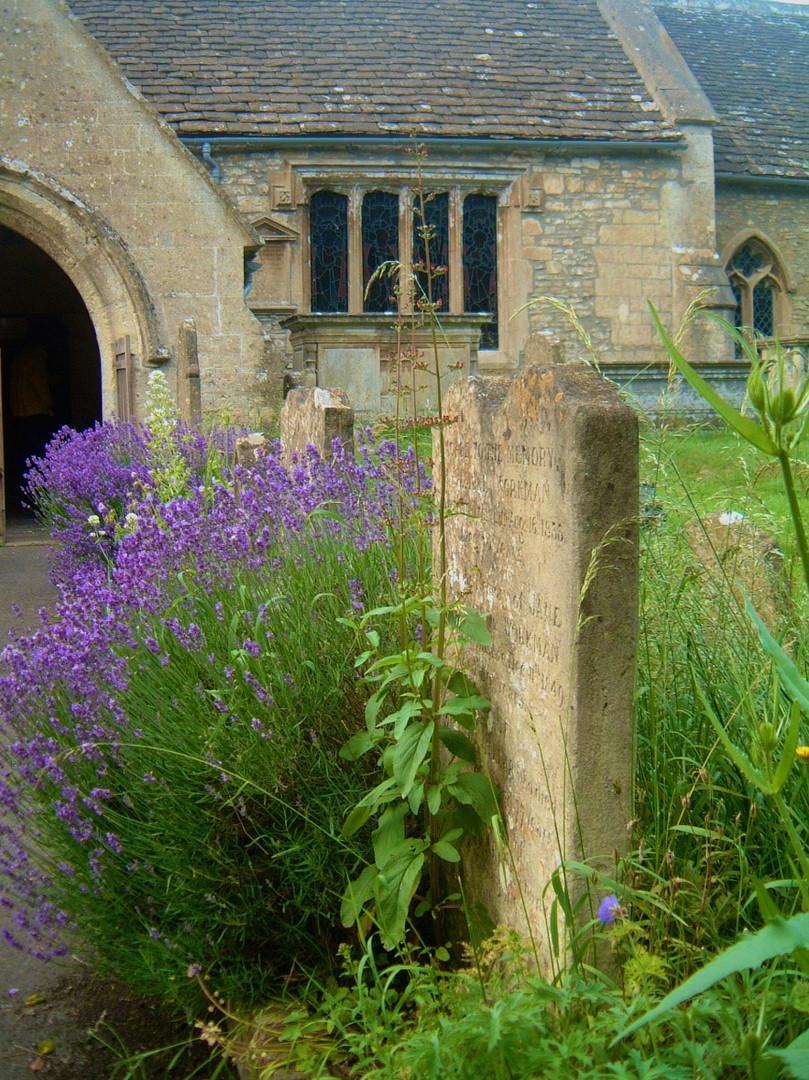 The Graveyard and the Norman Church (St. Nicholas), Biddestone