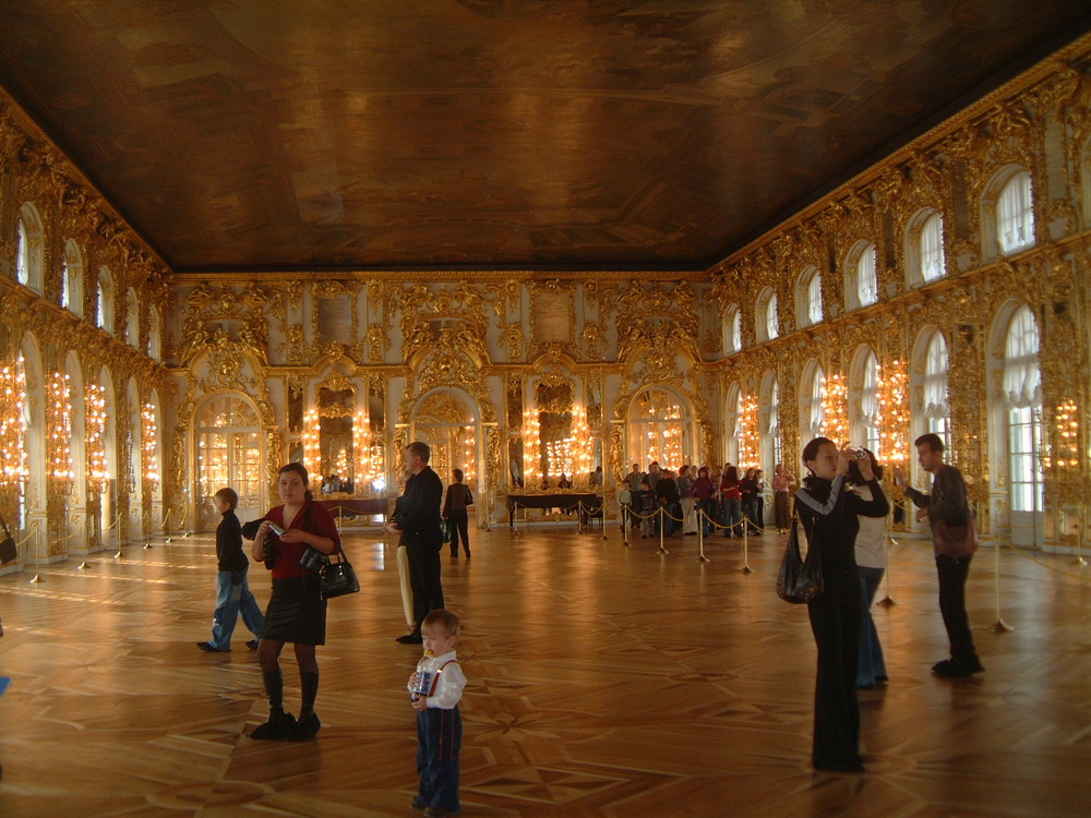 The Great Hall (more than 80 m in longitude) of  Catharine Palace, Zarskoje Zelo