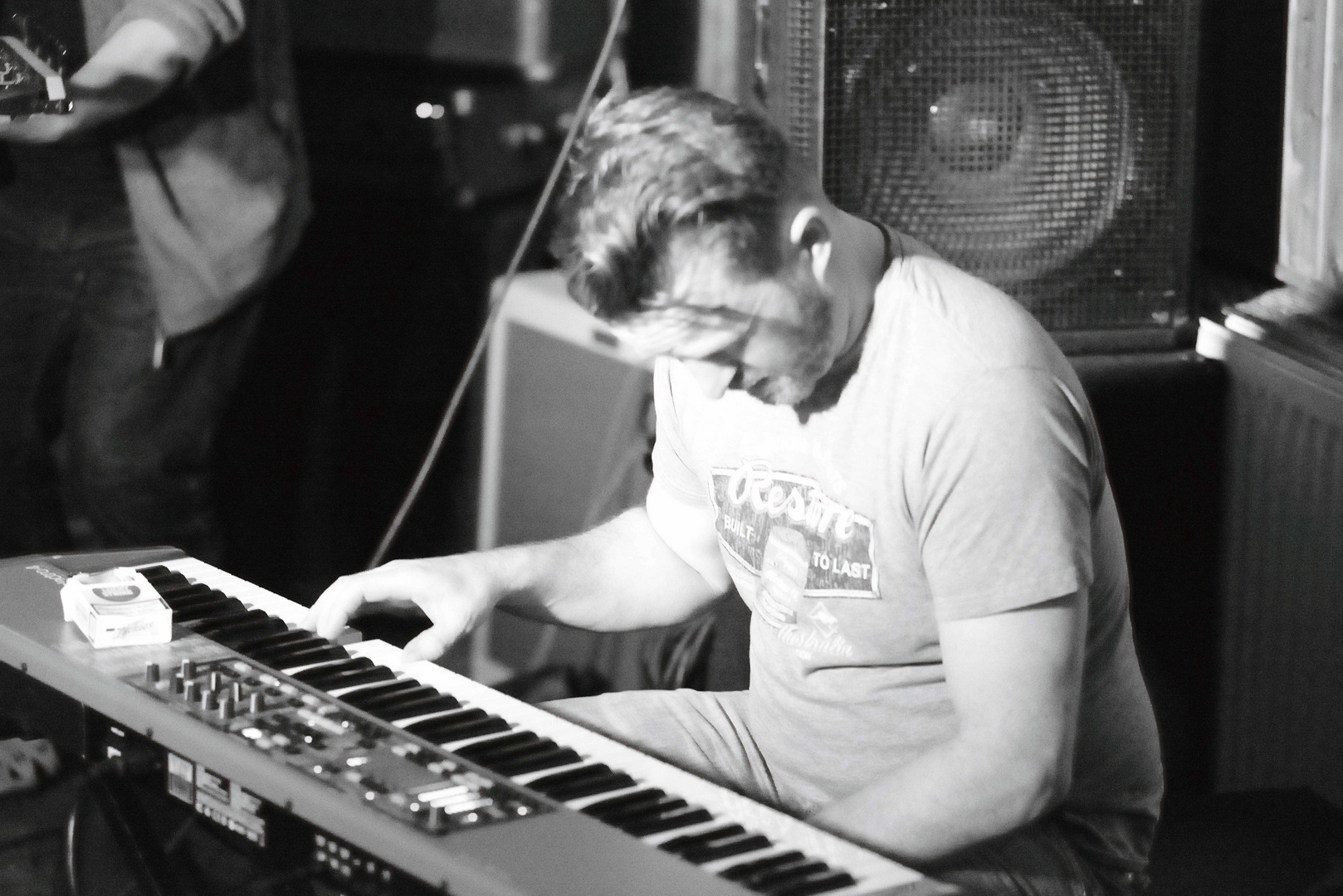 The grooving man on keybord