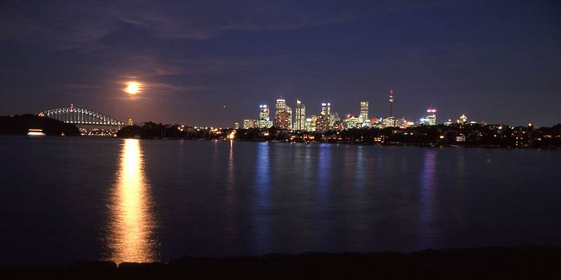 The moon over Sydney Harbour