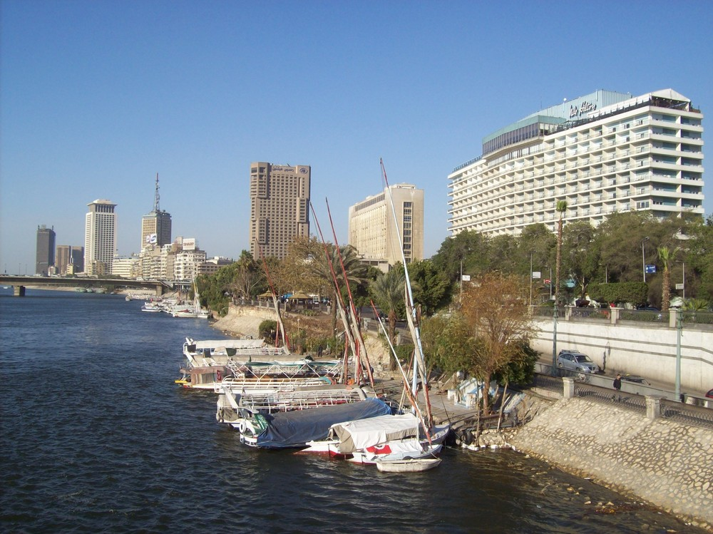 The Nile and Ramsis Hilton Hotels and the Nile River in Cairo