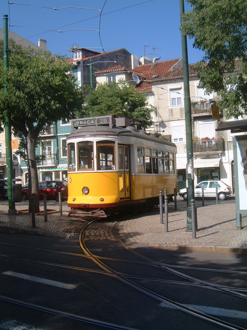 The Old Tram Driving Through Graca-Old Town, Lisbon