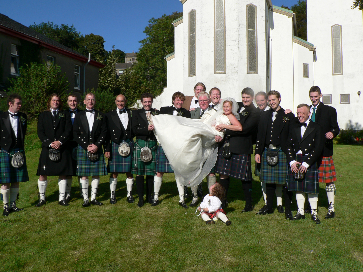 The Scottish Wedding of our Cousin Stuart (on the right beside the Bride) with his Deirdre