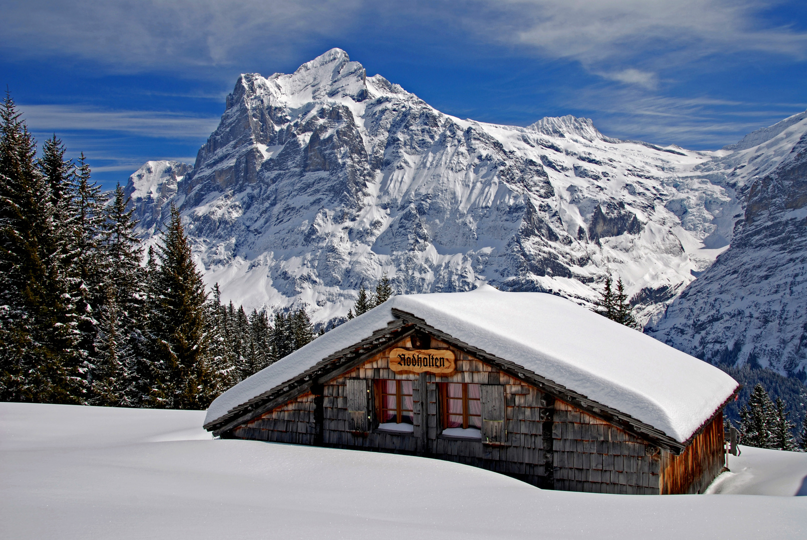 The Wetterhorn from the path to Bort.