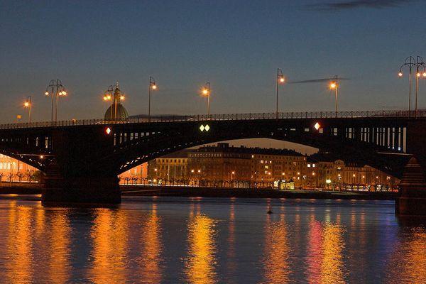 Theodor-Heuss-Brücke Wiesbaden/Mainz, Nightshot