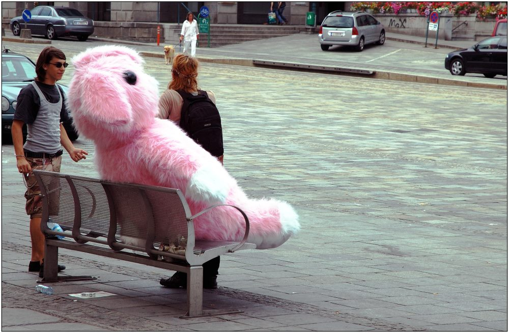 ... there's no taxi big enough for the pink rabbit ...