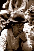 Thinking woman in Chinchero