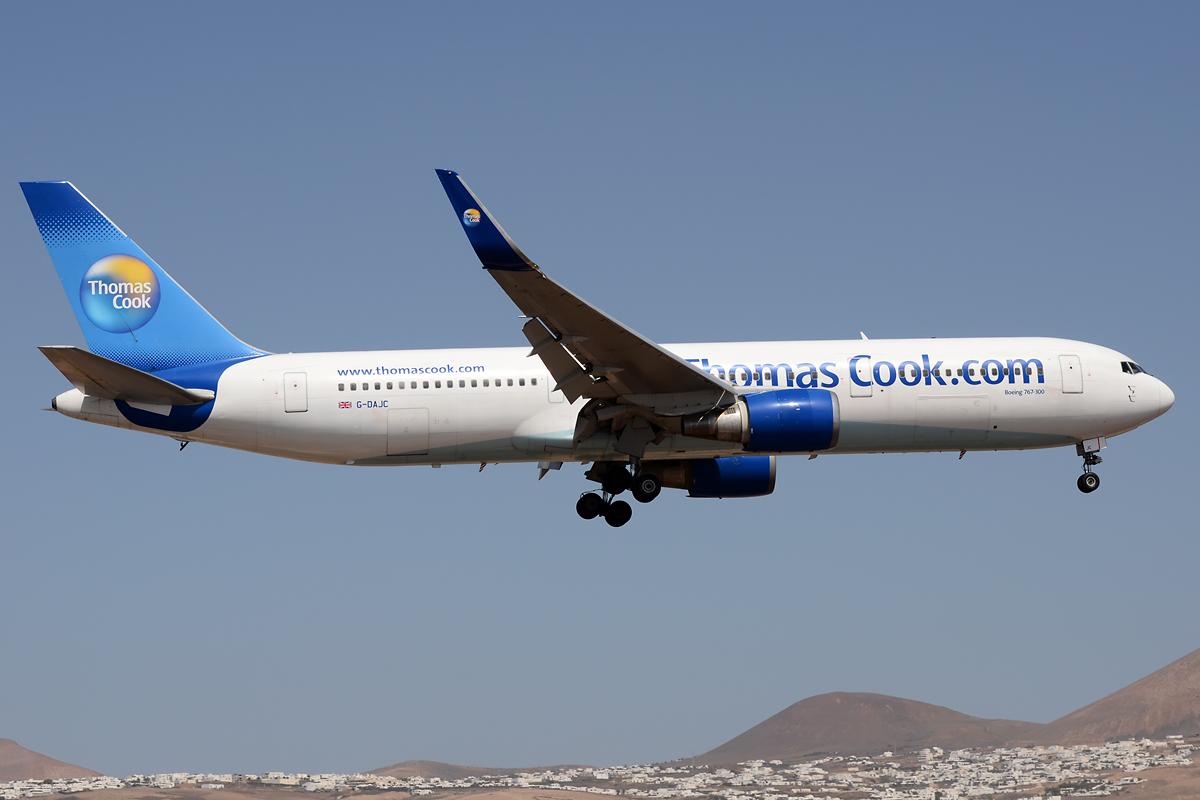 Thomas Cook Boeing 767 im Endanflug auf Lanzarote