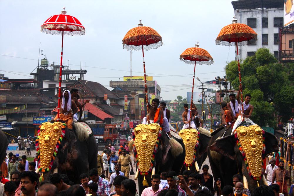 Thrissur Pooram-Die ersten Elefanten kommen