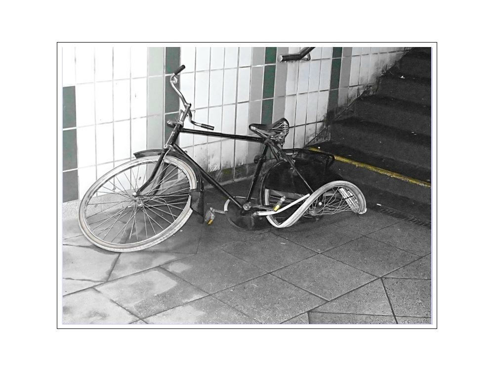 Thrown down the stairs, discarded and abandoned.