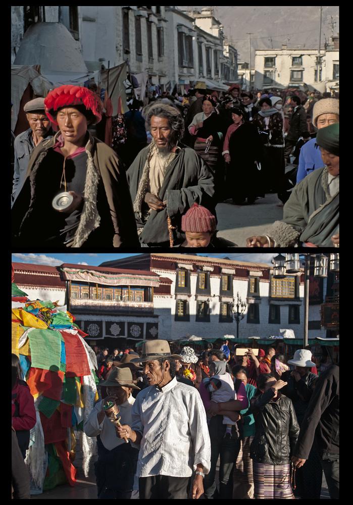Tibetische Gläubige 1991 (oben) und heute (unten) ... von einer der fc KAMERAden