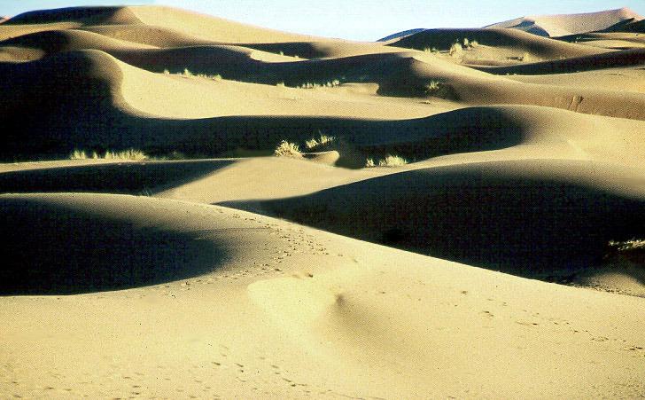 Tiefe Sonne in der Sahara