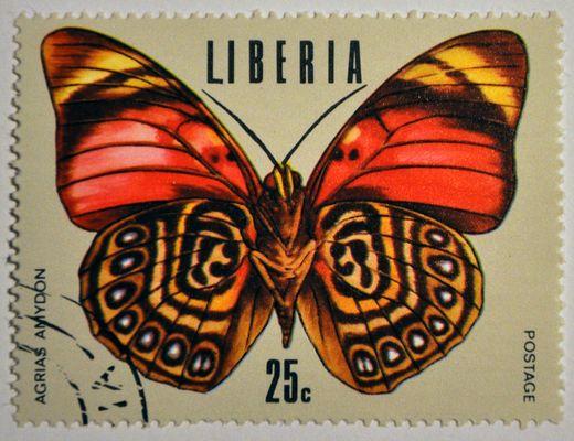 Timbre de la République du Libéria. (Pays de l'ouest de l'Afrique) Papillon.