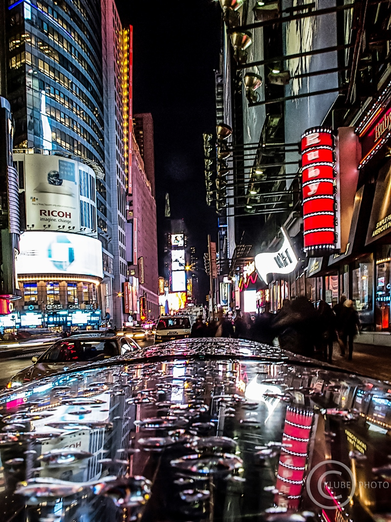 Times Square at night in the rain