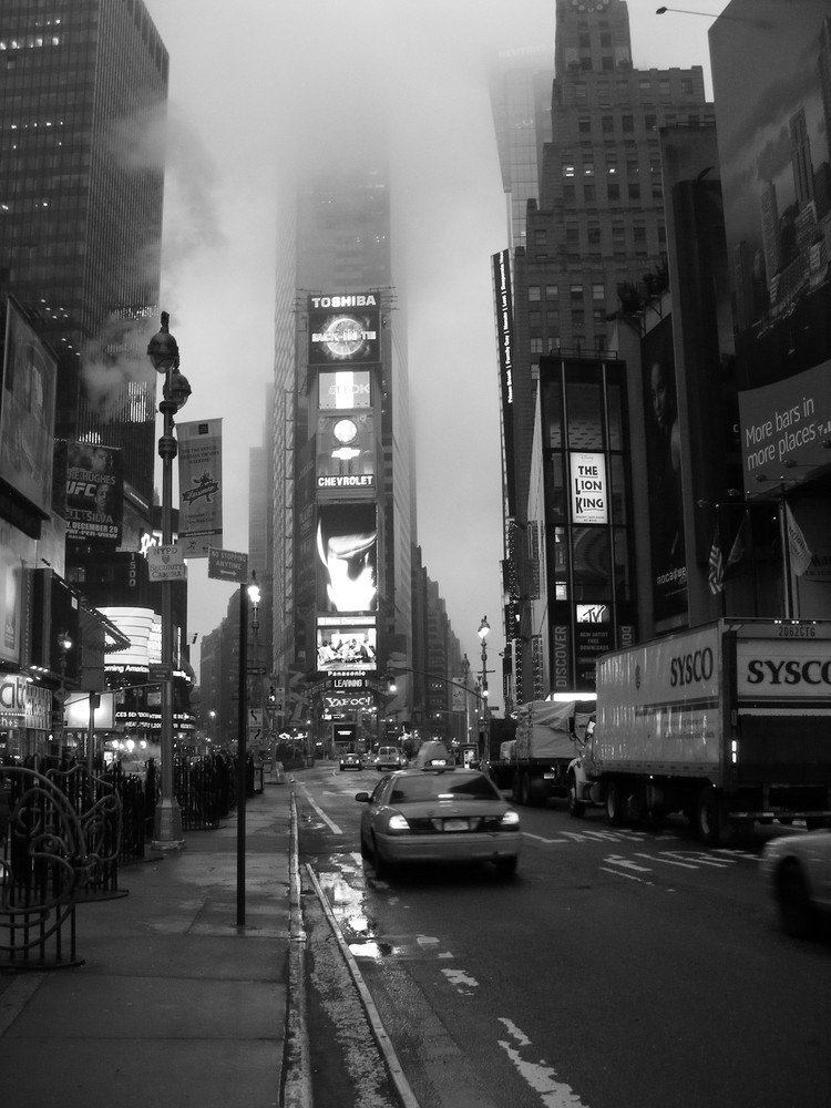 Times Square bei Nebel
