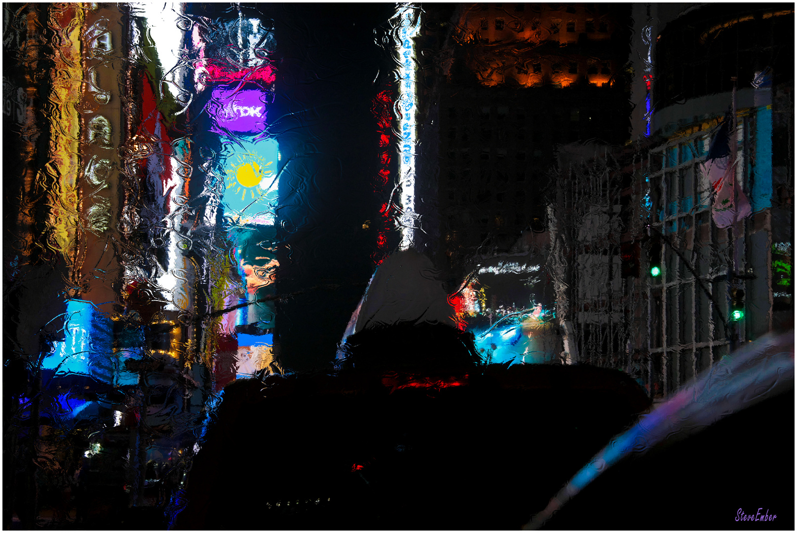 Times Square by Taxi - Late Night Impression