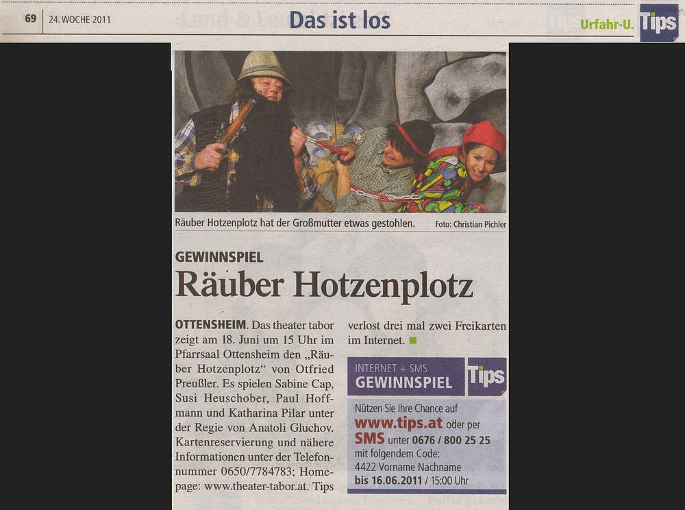 Tips: Räuber Hotzenplotz im Pfarrheim Ottensheim am 18.3.2011 um 15.00 Uhr