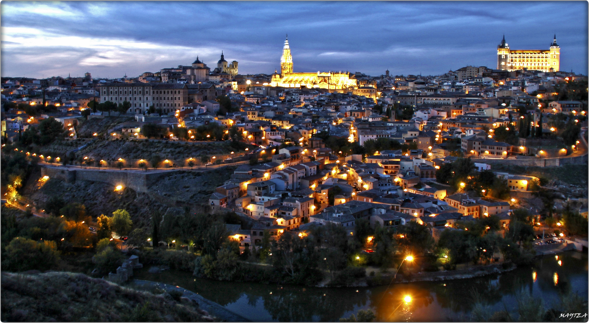 Toledo at night.