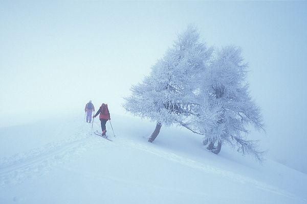 Tourengeher im Nebel