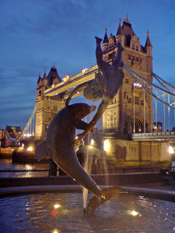 Tower bridge fountain in London