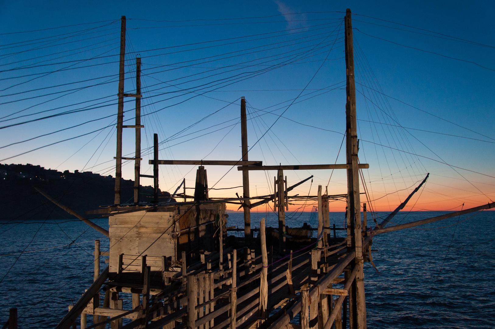 Trabucco vor Sonnenuntergang