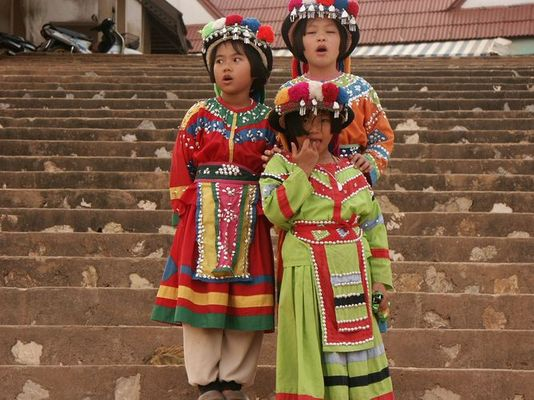 """Tradition hier nur für Touristen Aufnahme ist vom """"Golden Dreick"""" (Länderdreieck Burma/Laos/Thailand"""